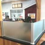 Frosted glass built-in divider panels in American Meadows