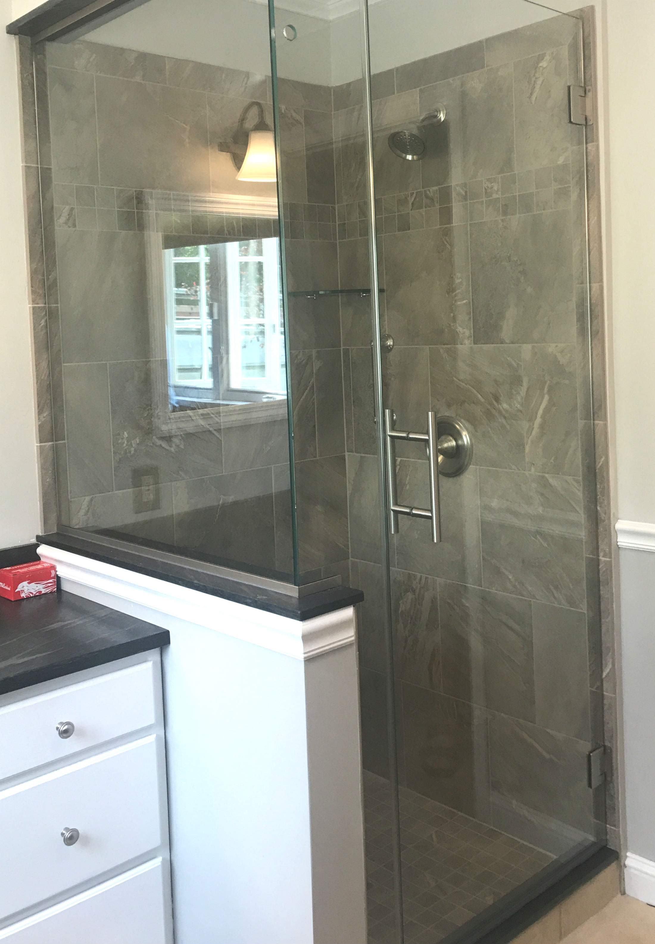 Dark gray tile shower - Acme Glass