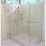 Multiple panes of glass in this shower create an open, soothing space