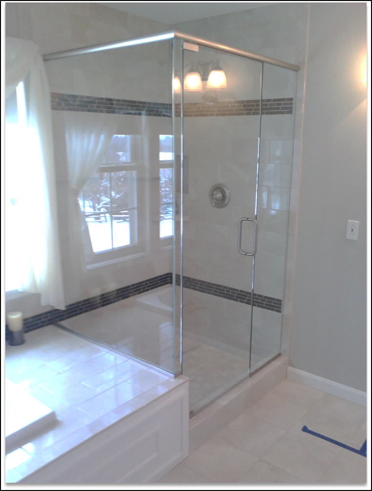 Glass shower enclosures show off the tiling every bathroom visit