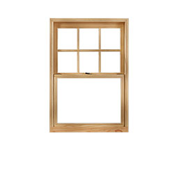 Example of a single hung window, fixed upper pane with sliding lower pane.
