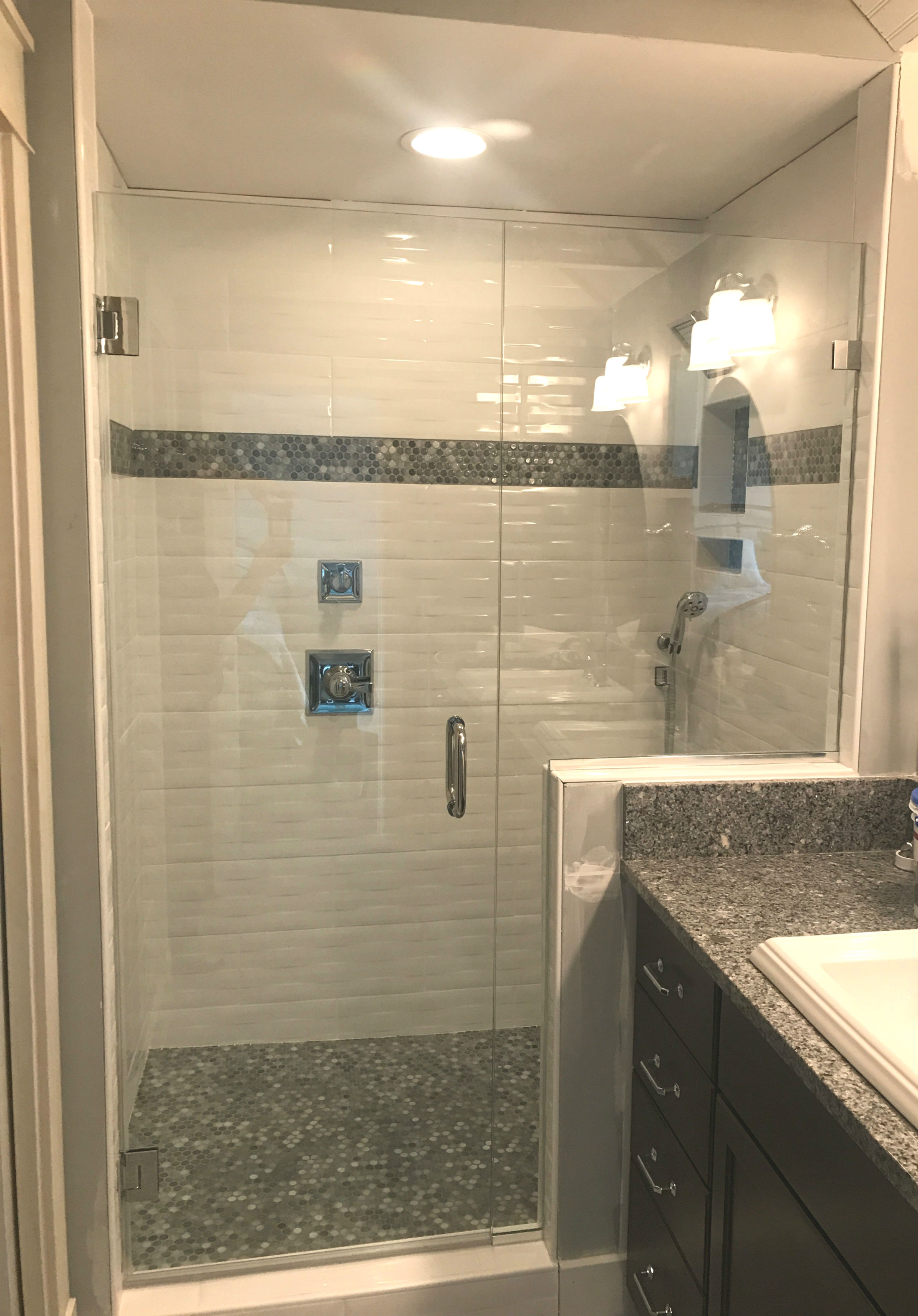 White Tile Shower With Gray Tiles Acme Glass