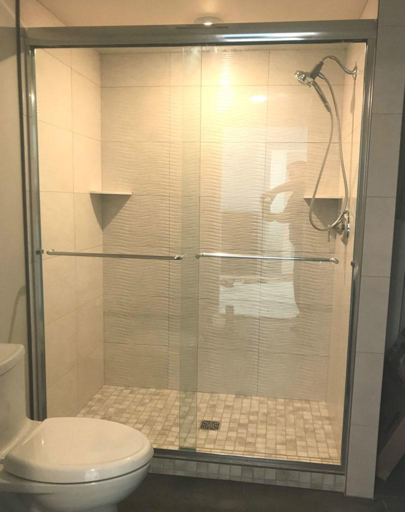 A well lit shower creates a spa-like experience